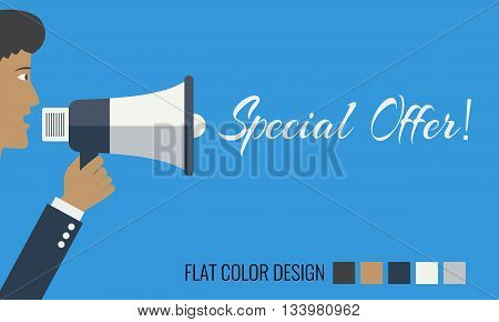Hand holding megaphone - Special offer. Man crying face profile. Vector