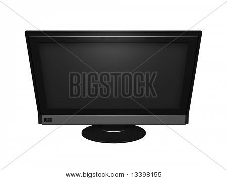 Big flat wide screen isolated on white