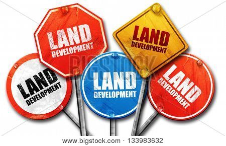 land development, 3D rendering, street signs