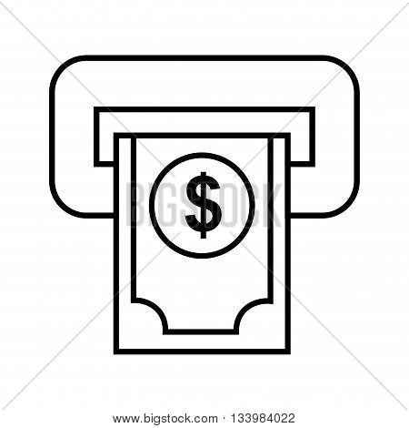 isolated automatic teller machine with cash money and dollar symbol , Vector