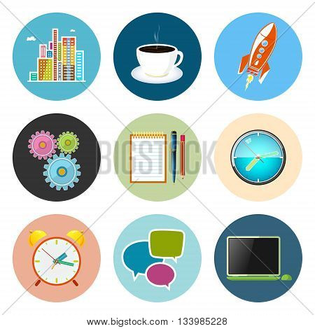 Set of Business Icons, Office Work, Team Work, Long Hours in the Office ,Presentation and Discussion, Vector Illustration