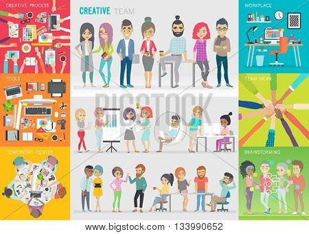 Creative team set. Vector illustration.
