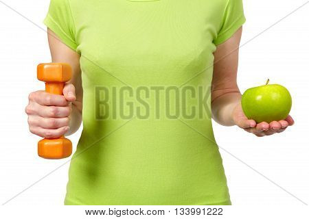 Woman With Dumbbells And Apple