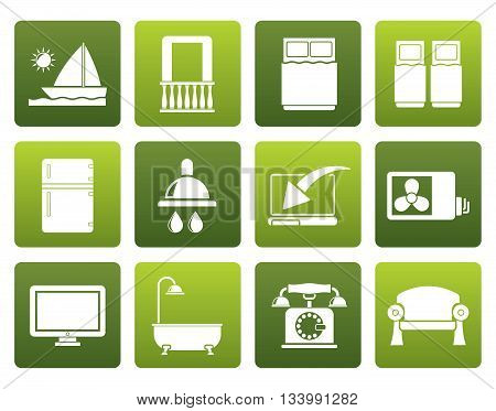 Flat Hotel and motel room facilities icons - vector icon set