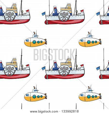vector seamless pattern. Hand drawn water transport. kids toy steamship, submarine