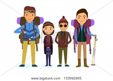 Family vacation. people travelling. with children and suitcases vector illustration. travelers backpacks. Father, mother, son, daughter. Travel. EPS 10.