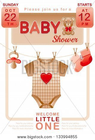 Baby shower unisex invitation design for boy or girl with body suit, socks, soother in beige and red color on white background. Cute teddy bear toy icon