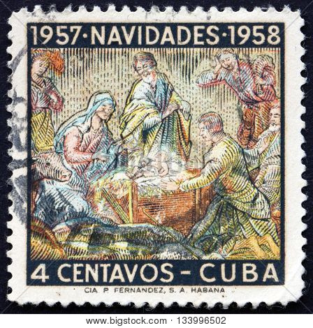 CUBA - CIRCA 1957: a stamp printed in Cuba shows Holy Family Nativity Christmas circa 1957