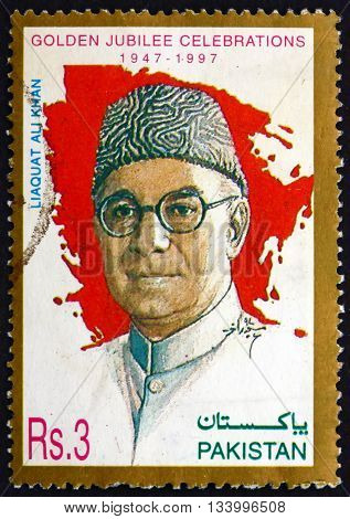 PAKISTAN - CIRCA 1997: a stamp printed in Pakistan shows Liaquat Ali Khan Statesman Lawyer and Political Theorist Was One of the Leading Founding Fathers of Pakistan Independence 50th Anniversary circa 1997