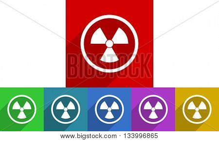 radiation vector icons set, flat design colored internet buttons, web and mobile app illustration