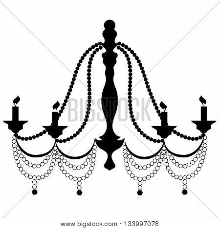 Retro Cryctal Chandelier with Candles Silhouette Isolated on White Background