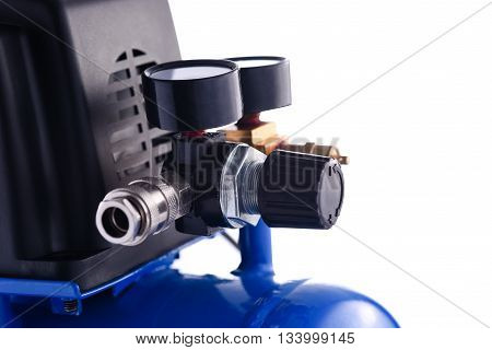 Mini blue compressor pressure gage details isolated on white background,
