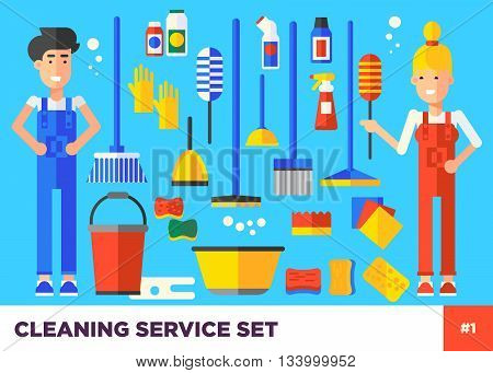 Young Vector Cleaning Staff Characters