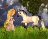 Cute toon Fairytale Princess and magical unicorn in a fantasy woodland scene, 3d digitally rendered illustration poster