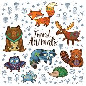 Set of cute woodland animals isolated on white background. Woodland tribal animals cute forest and nature design elements vector. Woodland nursery wall art. poster
