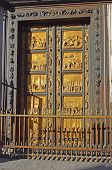 East doors or Gates of Paradise by Lorenzo Ghiberti, Baptistery of St. John, cathedral Santa Maria del Fiore (Duomo), Florence, Tuscany, Italy poster