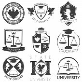 Heraldry of university black white emblems with academic cap lions manuals balance eagle crown isolated vector illustration poster