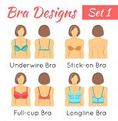 Bra design vector flat icons set. Female torso in different types of brassieres. Front and back view. Lingerie fashion infographic elements. Woman wears underwire, invisible, full cup, longline bras poster