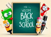 School vector characters of funny pencil, pen, sharpener and other school items holding blackboard with back to school writing. Vector illustration poster