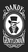 vector illustration of a skull wearing a hat cylinder gentleman in black and white vintage frame poster