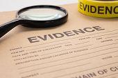 magnifying glass and evidence bag for crime scene investigation poster