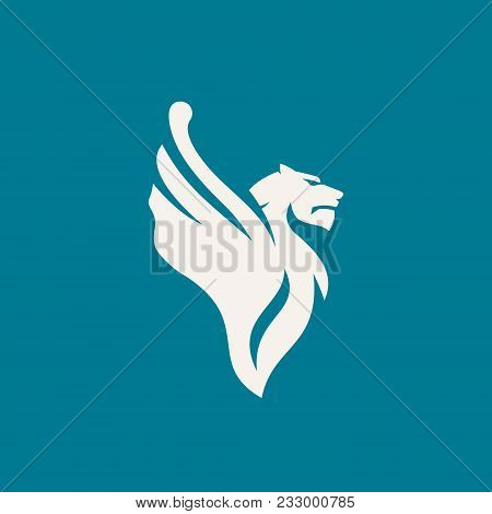 Winged Feline Predator Isolated On Dark Background