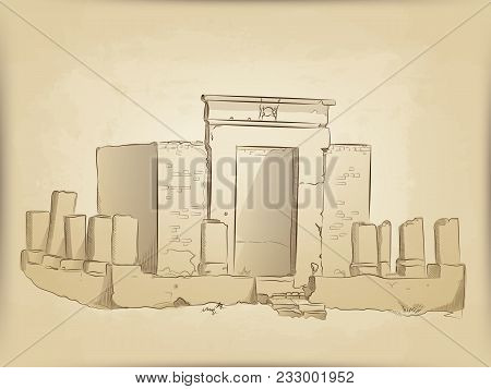 Ancient Ruins Of The Temple. The Building And The Destroyed Columns. The Sketch Handmade. The Backgr