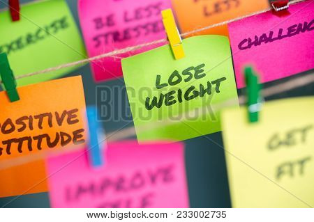 Lose Weight And Other Motivational Words For Healthy Lifestyle Written On Different Colors Sticky No