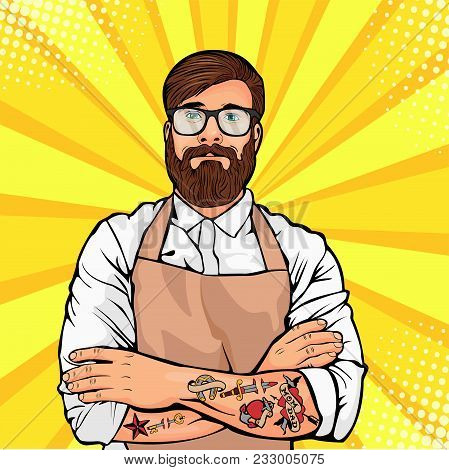 Bearded Man In Glasses With Tattoo On Arms Vector Illustration In Comic Pop Art Style. Hipster Artis