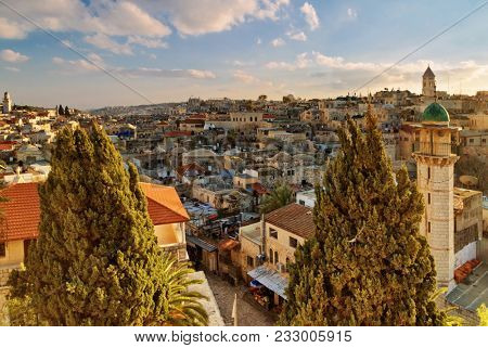 JERUSALEM, ISRAEL - DECEMBER 26, 2016: View from roof of Austrian hospice on Via dolorosa in old city of Jerusalem. Street  Via Dolorosa  - path of Jesus Christ led to the place of the crucifixion.
