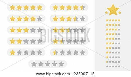 Five Stars Rating. Set, Collection Of Star Rating Badges, Labels For Web And Print.