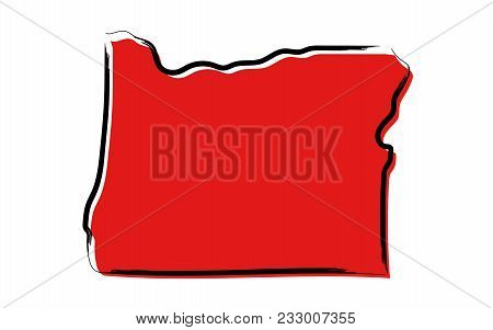 Stylized Red Sketch Map Of Oregon Illustration Vector