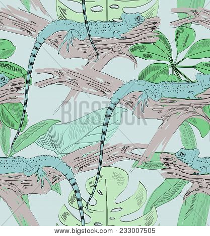 Tropical Seamless Vector Pattern With Lizard And Leaves.