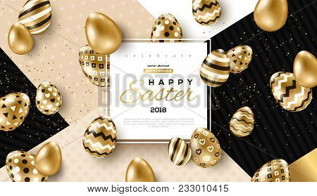 Easter Card With Square Frame, Gold Ornate Eggs And Confetti On Colorful Modern Geometric Background