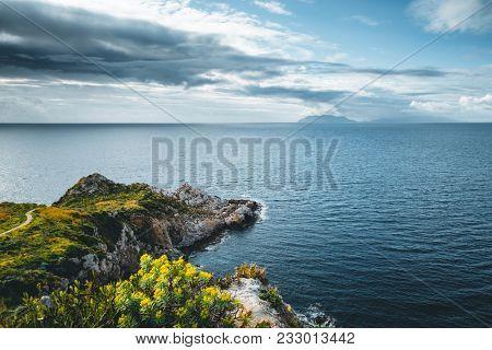 Amazing view of calm sea. Location cape Milazzo, Sicily (Regione Siciliana), region of Italy, Europe. Mediterranean resort. Scenic image of beautiful spring seascape. Discover the beauty of earth.