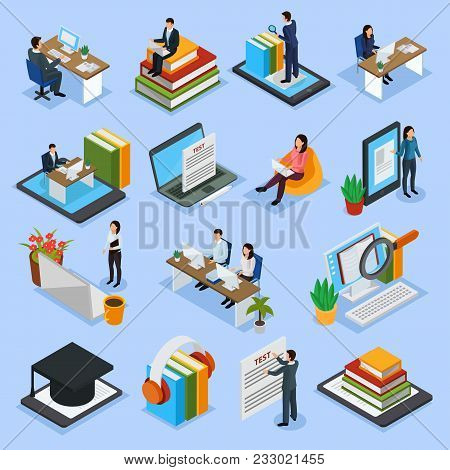Online Education Isometric Icons With Distance Lecture, Audio Books, Computer Test, Electronic Libra