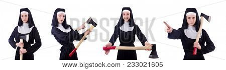 Nun with axe isolated on white