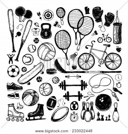 Sport Sketch Equipment. Hand Drawn Doodle Set Icon Of Recreation And Leisure Isolated On White Backg
