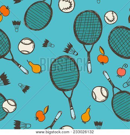 Sport Sketch Equipment Seamless Pattern. Tennis And Badminton