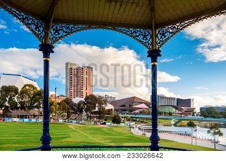 Adelaide,  Australia - August 27, 2017: Adelaide City Skyline Viewed Through Rotunda In Elder Park O