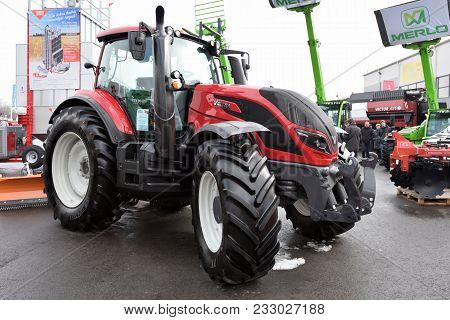 Kaunas, Lithuania - March 23: Valtra Tractor On March 23, 2018 In Kaunas, Lithuania. Valtra Is A Man