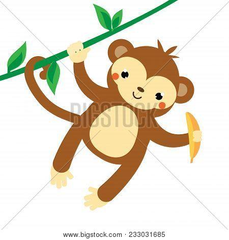 Cute Monkey. Cartoon Marmoset Hanging On Liana, Holding Banana. African Animal. Kawaii Style. Vector