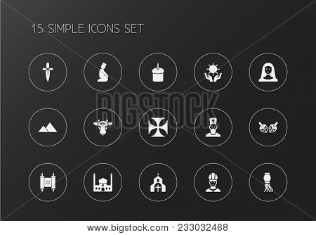Set Of 15 Editable Dyne Icons. Includes Symbols Such As Mosque, Nun, Sun In Hand. Can Be Used For We