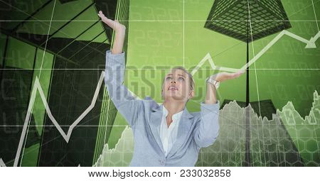 Digital composite of Stressed businesswoman with arms raised with graph in background