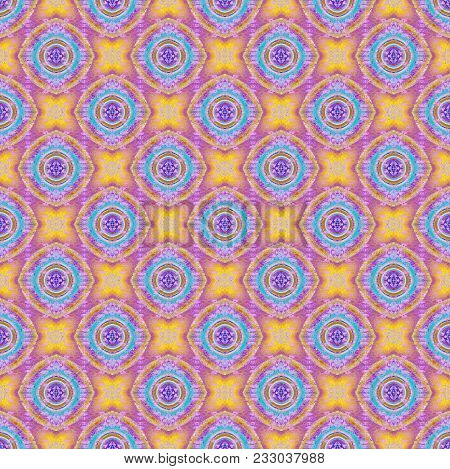 Abstract Geometric Seamless Background Multicolored. Regular Round Pattern Purple, Yellow And Light