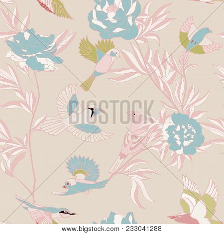 Bright Wide Vintage Seamless Background Pattern. Peony, With Humming Birds Around. Stylized On Pink
