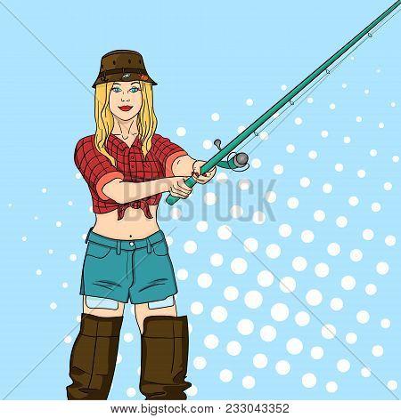 Woman Fisher On The River, Girl Fisherman. Pop Art Retro Vector Illustration. Angler Standing On Jet