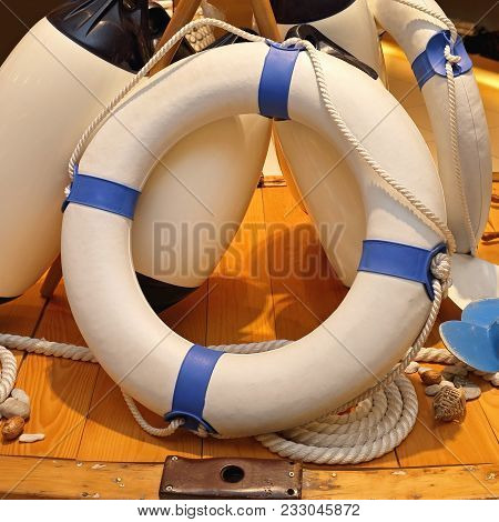 White Life Ring At Boat Deck Safety