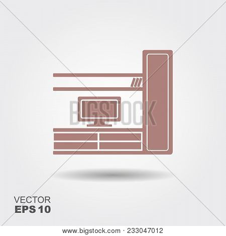 Living Room With Tv. Furniture Flat Icon