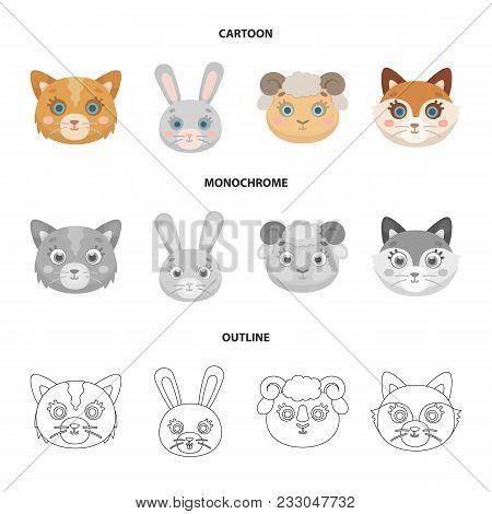 Cat, Rabbit, Fox, Sheep. Animal Muzzle Set Collection Icons In Cartoon, Outline, Monochrome Style Ve